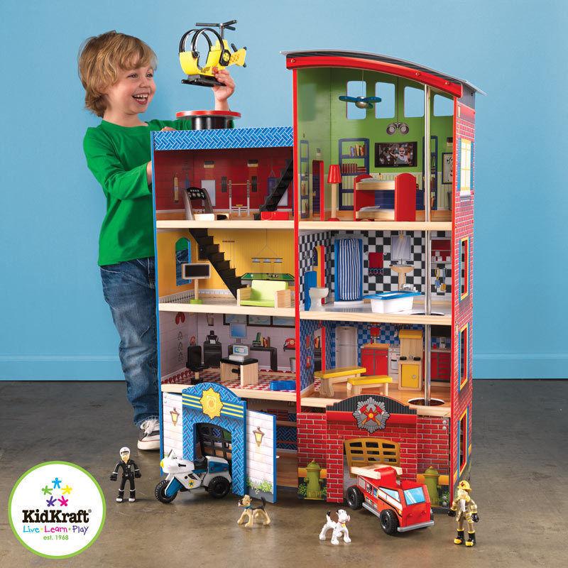 KidKraft Hometown Heroes Wooden Wooden Wooden Playset Fire Police Kids Boys Toy Garage cb225b