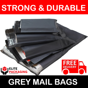 1000 BAGS 13x19 INCH LARGE STRONG 57MU MAILING POSTAGE QUALITY SELF SEAL GREY