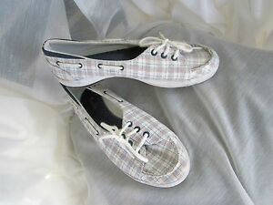 women's keds casual boat shoe w arch support plaid canvas