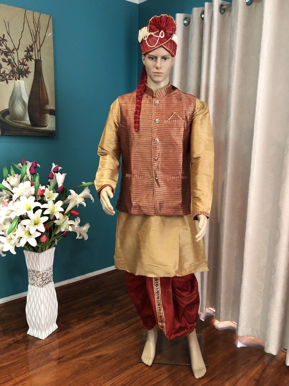 "42"" 105cm XL Sherwani Suit Indian Bollywood  Herren Designer Kurta Maroon Gold A2"