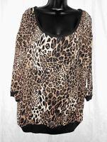 Bobbie Brooks Plus Top Size 2x Sheer Animal Print Short Sleeve Polyester $15