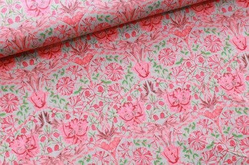 "William Morris Floral Pink Leaves Vines Iris High Quality 58/"" 100/% Cotton Lawn"