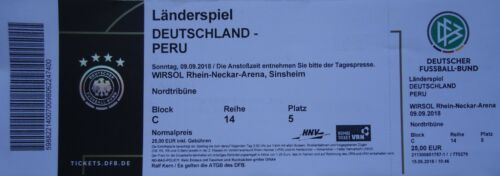 mint TICKET Friendly Match 9.9.2018 Deutschland Peru in Sinsheim