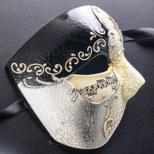 Phantom of Opera Half Face Men Mask Masquerade Party Prom Ball Mask Black Silver