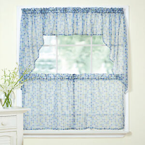 Details about Tiles Block Print Blue/Green Sheer Voile Kitchen Curtains  Tier, Valance or Swag