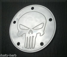 For Harley Davidson Twin Cam Timing Timer Cover Punisher Skull Engraved Polished