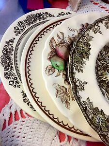 12-pc-Vintage-Mismatched-Ironstone-China-Dinnerware-set-Brown-Transferware-256
