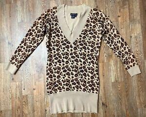 Tracy-M-Women-039-s-Long-Sleeve-Cheetah-Print-Tunic-Length-Sweater-V-Neck-Sz-M