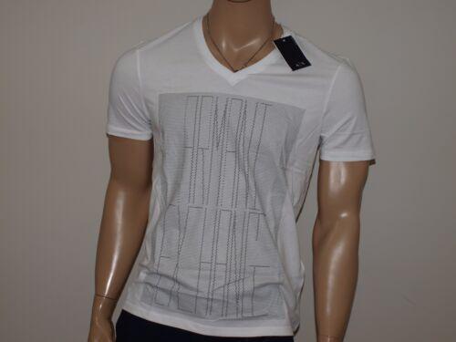 punteada de Armani cuello Logotipo en de V Nwt camiseta Exchange blanca auténtica con difusión qT61xEpU