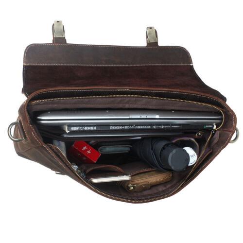 "Vintage Men Leather Briefcase 14/"" Laptop Shoulder Bag Business Satchel Attache"