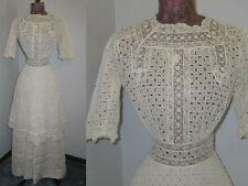 ORNATE Antique Edwardian Lawn Day Dress~Hand Made Broiderie Anglais Eyelet~Lace