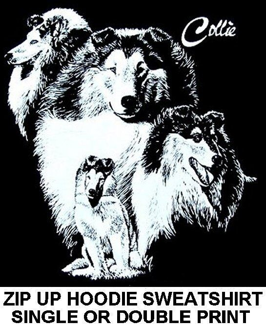 GORGEOUS COLLIE DOG ART COLLAGE ON A ZIP HOODIE SWEATSHIRT 733