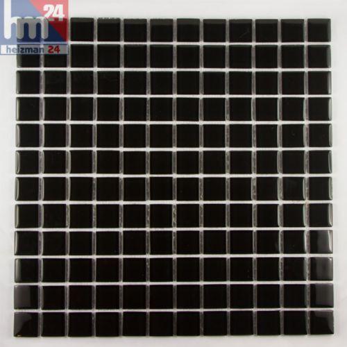 Pool 29,5x29,5x0,4cm Glasmosaik Black Stone Mosaikfliese schwarz für Bad Küche