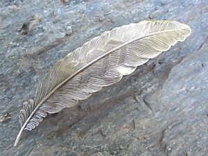 Feather-Antiqued-Brass-Gold-Finish-French-Clip-Hair-Barrette-80mm-Clip-USA-6010