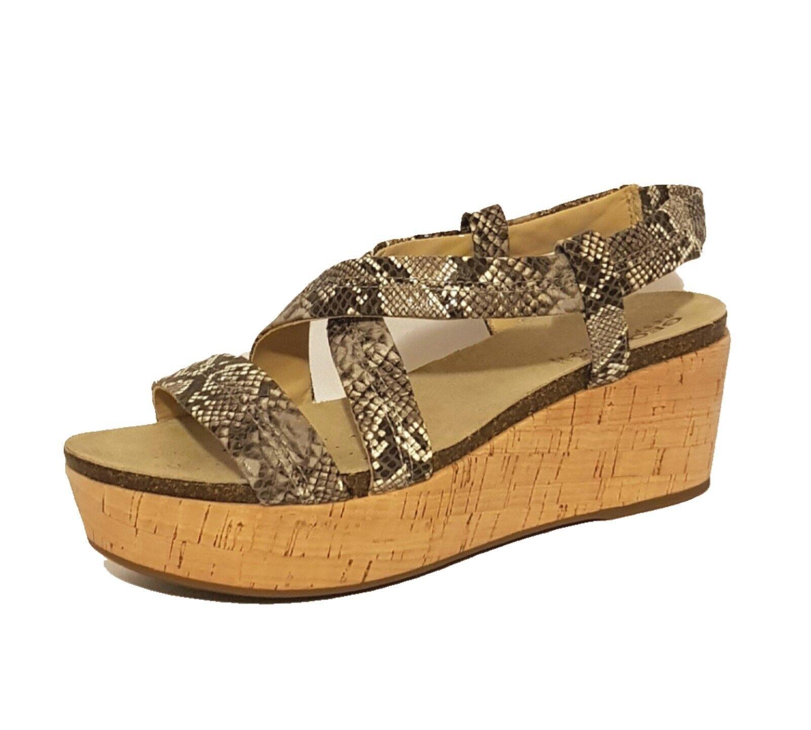 GEOX RESPIRA D GENUINE JALIA   SNAKE GENUINE D LEATHER WEDGES SANDALS Schuhe LADIES 25c464