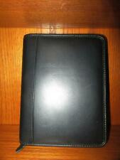 New Listingfranklin Black Leather Zip Around Leather Planner New