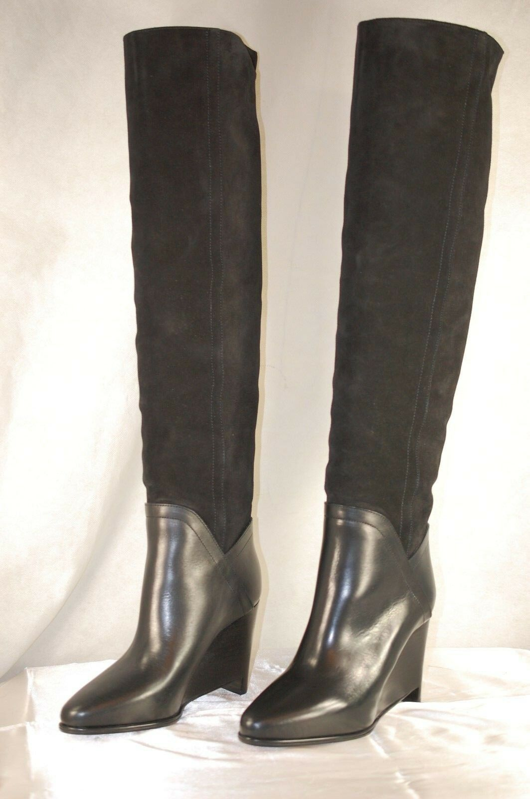 MAISON MARTIN MARGIELA WEDGE BLACK SUEDE SLOUCH OVER THE KNEE BOOTS US 10