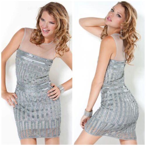 NWT JOVANI 12188 Short Cocktail dress in grey//silver worn by Kim Kardashian $598