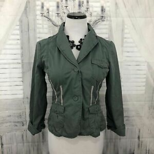 Anthropologie Kvinder Army Monteret 8 Trim Military Jacket Sitwell B25 Green Ribbon 5rx4wq5