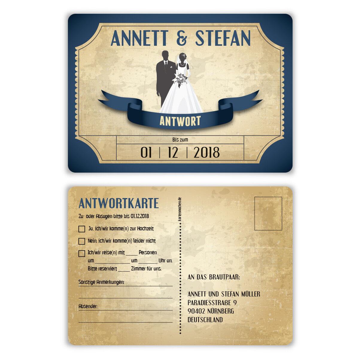 Antwortkarte Hochzeit Hochzeitskarten Antwort Postkarte Vintage Brautpaar Blau