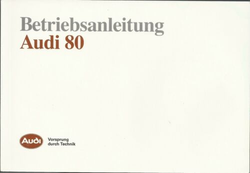 AUDI 80 b3 manuale di istruzioni 1990 MANUALE MANUALE bordo libro BA