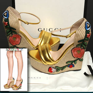 GUCCI Embroidered FLORAL GOLD SHOES