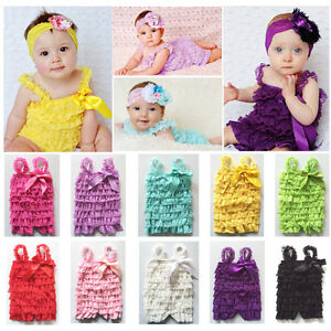 848052de78c9 Baby Girls Ruffle Lace Petti Romper Jumpsuit Newborn Infant Toddler ...