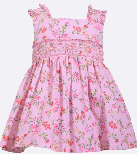 Bonnie Baby Girl/'s 2-Piece Ditsy Floral Print Smocked Dress-Size-18M or 24M-Pink