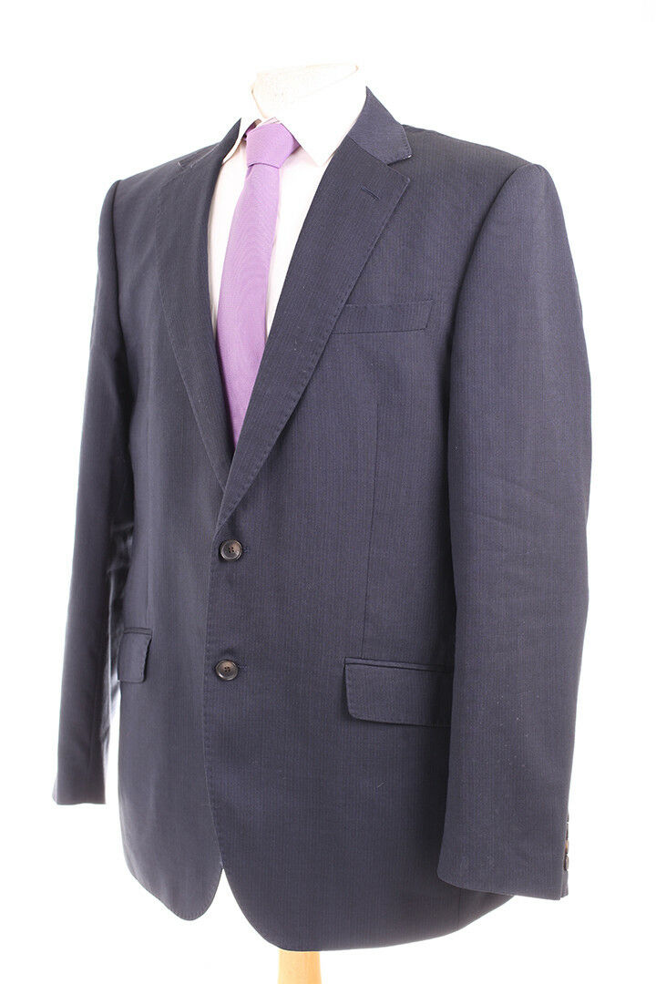 M&S COLLECTION NAVY Blau PINSTRIPE Herren SUIT 42L DRY-CLEANED TWO PAIRS TROUSERS