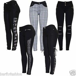 New-Ladies-Black-Check-Print-Knee-Cut-Side-Lace-Insert-Bow-Jean-Jegging-Leggings