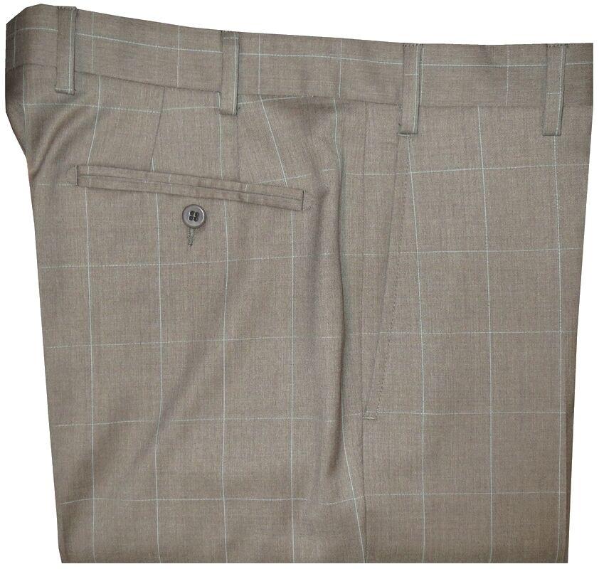 NWT ZANELLA DEVON KHAKI TAUPE WINDOWPANE SUPER 130'S WOOL PANTS 36