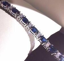 """GB Azul Zafiro Sim Diamante 7"""" Pulsera de tenis, Oro Blanco GF en Caja Ciruela UK"""