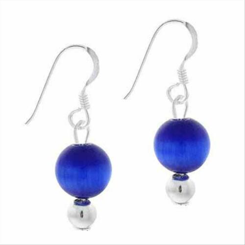 925 Argent 6 mm bleu foncé Cats Eye Bead Dangle Earrings