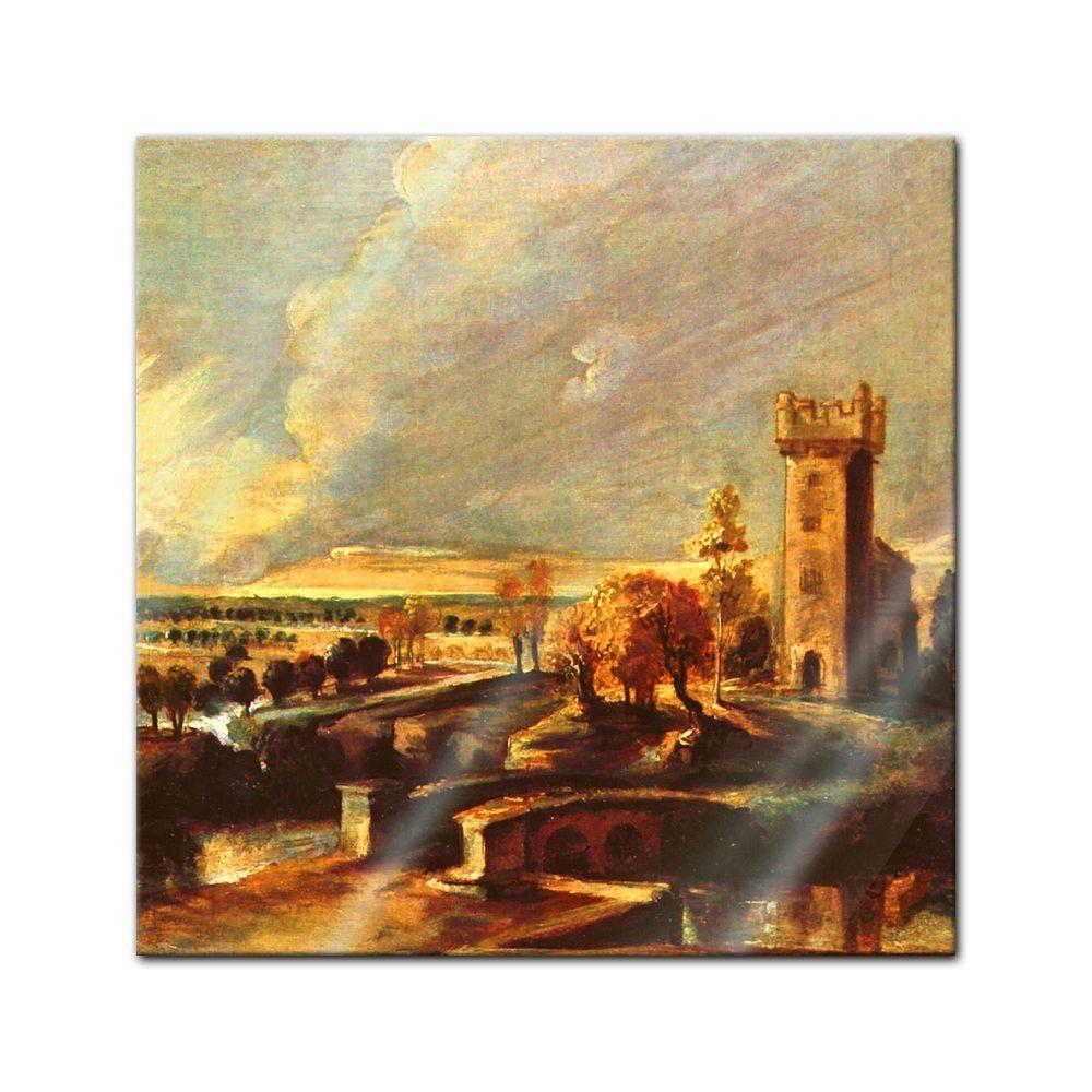 Immagine di vetro torre Peter Paul Rubens-MAESTRI-Paesaggio con la torre vetro del Schlosse 25e606