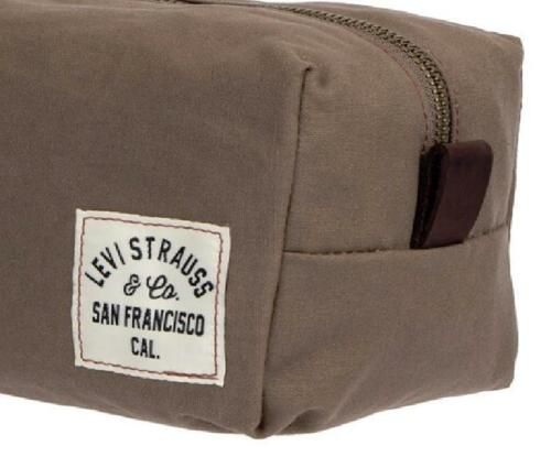 NEW~LEVI/'s LEATHER and Canvas TOP ZIPPER Travel Shave Shaving Dopp Kit~$45 Tags