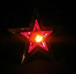 Glo-Star-Christmas-Tree-Topper-Light-Lighted-Lucite-Vintage-Blue-Red-On-A-Lite