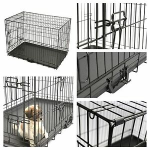 "30"" Pet Animal Kennel Pen Cat Dog Crate Travel Carrier Folding Cage House 2 Door"