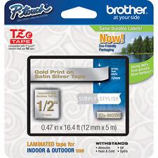 "Brother TZMQ934 1/2"" gold on satin silver TZ ptouch tape PT1090 PT1280 PT1290"