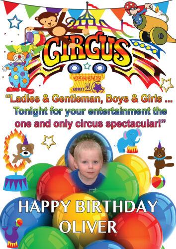 Grande Affiche de cirque anniversaire bannière Personnalisé Tout Nom Texte à thème avec photo