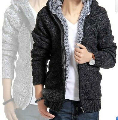USA Mens fur Lining Wool Knitted Warm Zip Cardigan Sweater Hooded jacket coat