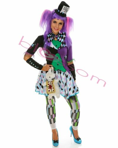 K498 Ladies Party Mad Hatter Alice In Wonderland Book Week Dress Outfit Costume