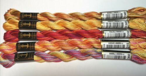 reds /& golds pack 5x Anchor Variegated Perle Cotton No.5