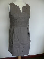 Boden Ada Dress  Driftwood Brown Cotton Embroidered Size 14R *1 only*