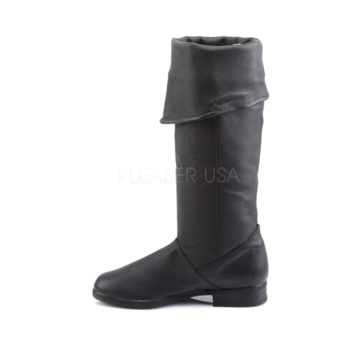 MAV8812//B//LE Men/'s Medieval Renaissance Pirate Black Leather Costume Knee Boots