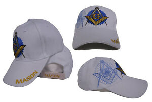 ac264f66a1e2d Image is loading Embroidered-White-Freemason-Mason-Masonic-Shadow-Emblem- Baseball-