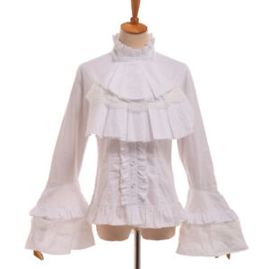 Vintage-Gothic-Victorian-Flare-Sleeve-Blouse-Lolita-Lace-Up-Ruffle-Collar-Shirt