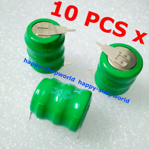 10 PCS x 3/V60H Rechargeable BackUp Battery Tabbed 3.6V 60mAh 2 Pins/Tabs