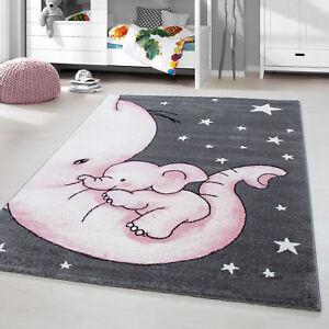 Kinderteppich Kurzflor Elefant Kinderzimmer Babyzimmer Grau Pink