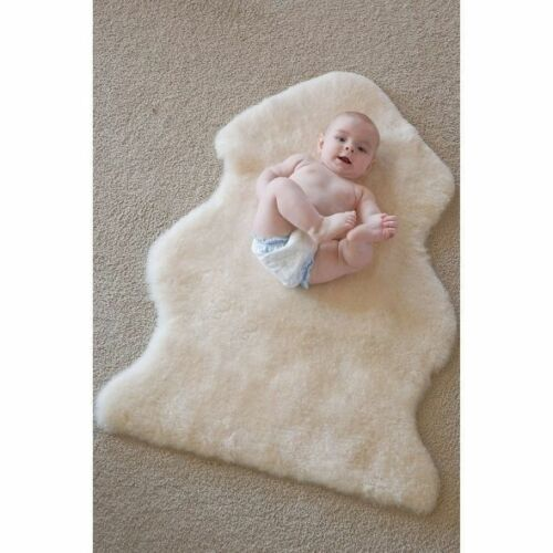 Baby Sheepskin Rug Floor Cot Bed Infant Lambskin Wool Pink Blue Natural Large//XL