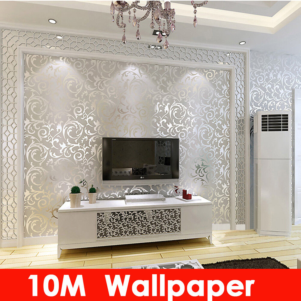 Home Decoration - 3D Embossed Wallpaper Roll Glitter Effect Silver 10M Waterproof Living Room
